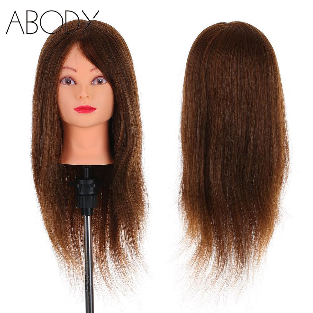 """24 """"100% cabeza de Maniquí de cabello humano Real + abrazadera de cabello de salón trenzado de entrenamiento de peluquería cabeza de maniquí herramientas"""