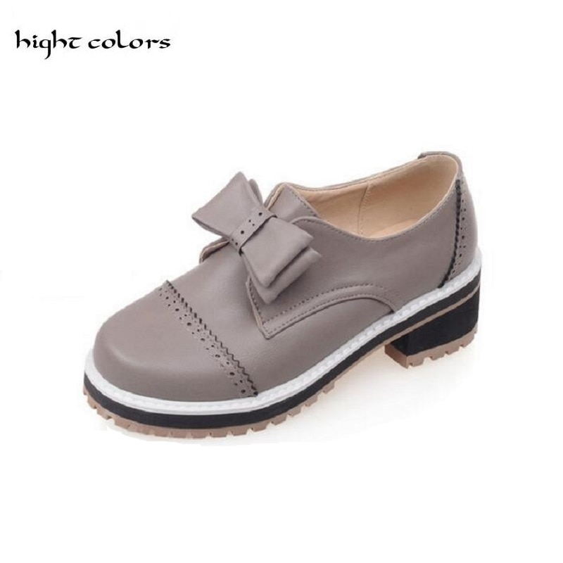 Gran tamaño 31-43 caliente 2019 PRIMAVERA/otoño moda punta redonda mujeres bombas zapatos de tacón cuadrado Bowtie trabajo zapatos de mujer zapatos DXM-616