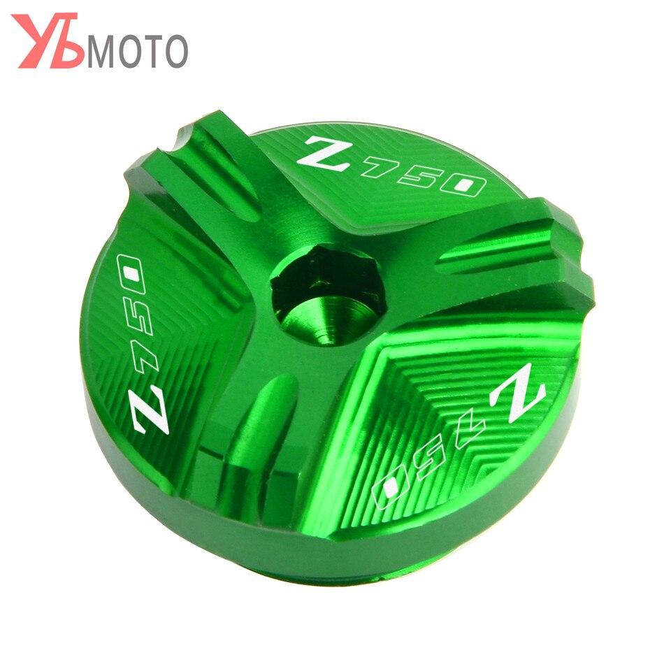 Flash ofertas para KAWASAKI Z750/S/2004, 2005, 2006, 2007, 2008, 2009, 2010 accesorios de la motocicleta CNC tapón de relleno de aceite macho con Logo