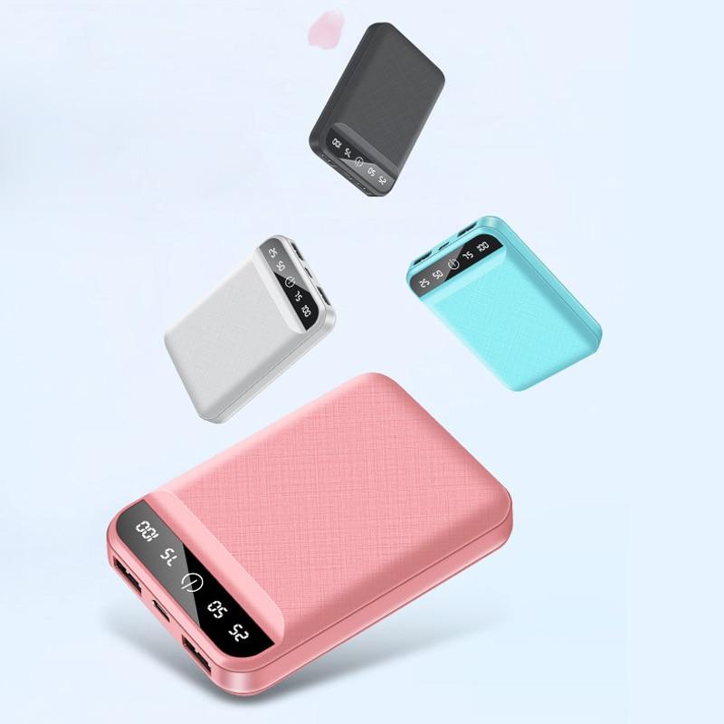 10000mAh Mini banco de energía para iPhone Xiaomi Samsung Huawei banco de energía portátil Dual USB carga rápida batería externa paquete banco