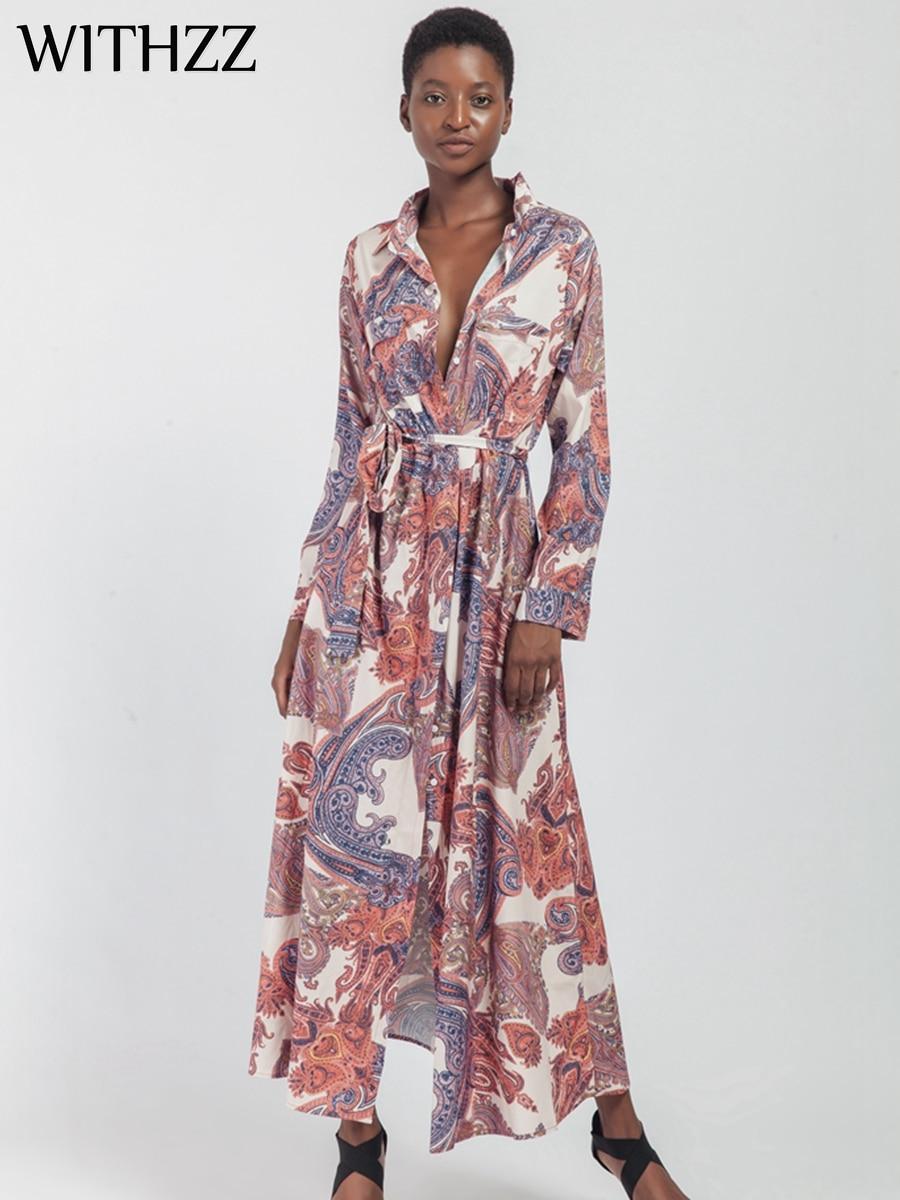 WITHZZ Lapel Digital Print Long-sleeved Long Ladies Shirt Dress for Women Fall Elegant Autumn Party Winter Dresses Casual