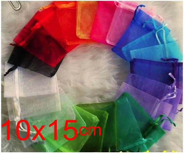 Omh atacado 50 pçs 10x15cm 10 cores mix chinês natal casamento voile presente saco organza sacos jewlery embalagem presente malotes bz09