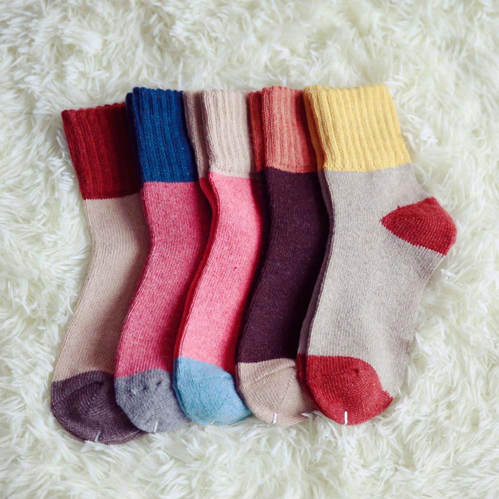 1 par de calcetines encantadores de pelo de conejo de Cachemira de Mongolia para niñas-lana cálida de lujo
