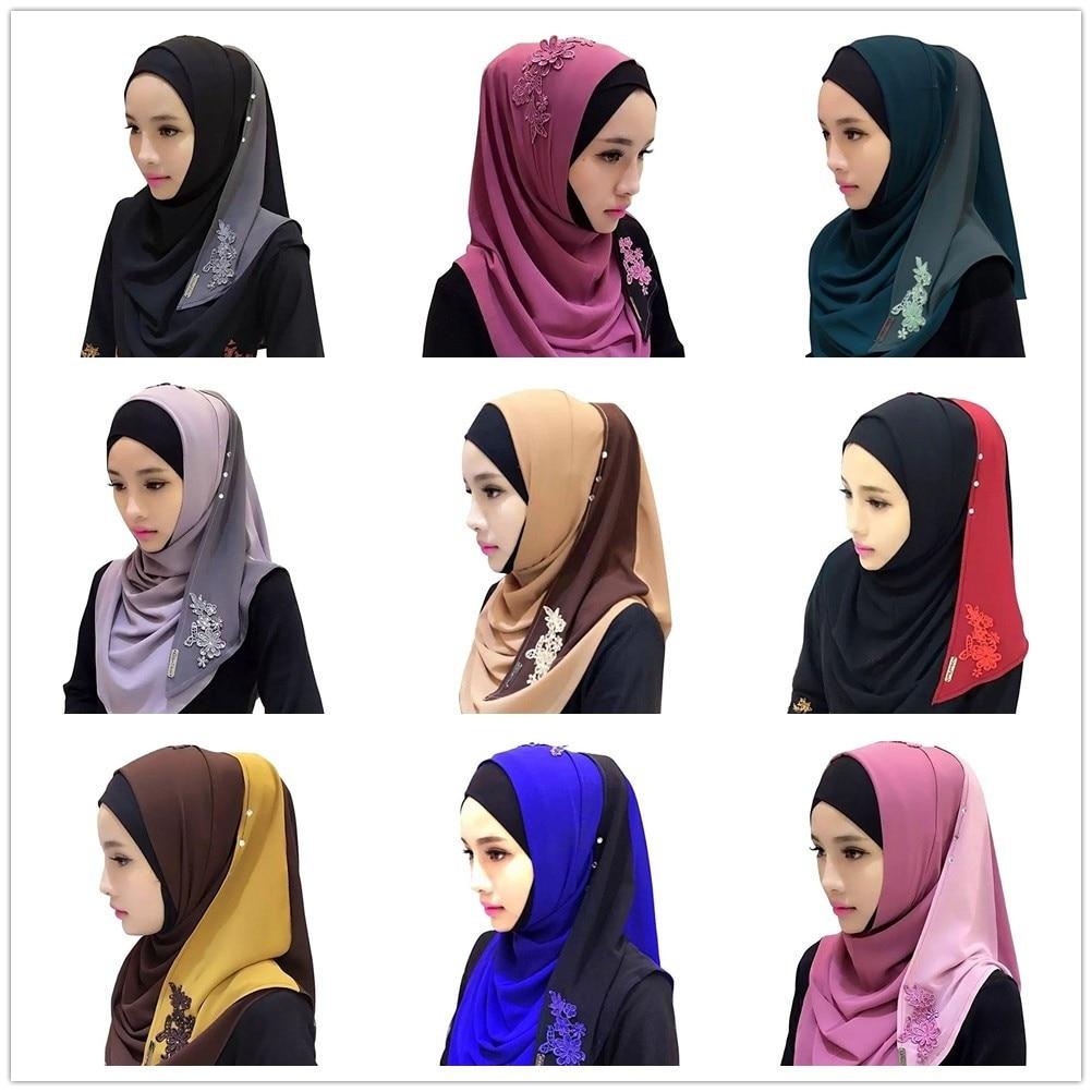 Chiffon Fashion Patchwork Convenient Muslim Lace Floral Embroidery Hijab Islamic Hijab Warp Headwear