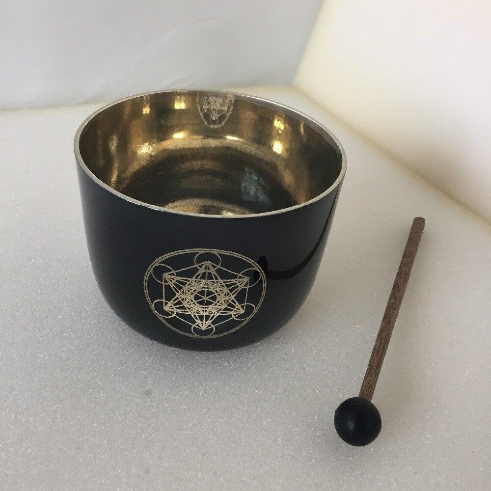 "528HZ+-2 HZ Frequency 4.8 inch ""Metatron cube "" design Quartz Crystal Singing bowl for Sound Healing."