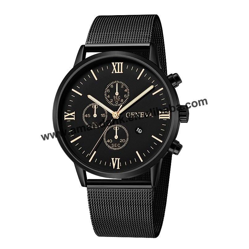 ساعة جينيفا غير رسمية للرجال والنساء ، ساعة يد ، كوارتز ، دائرية ، شبكية ، أنالوج ، 657