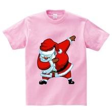 Children T Shirt Dabbing Cat Santa Claus Funny Cartoon Short Sleeve T-Shirts For Boys Girls summer top Kids clothes