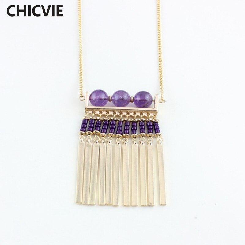 CHICVIE Bohemia Stone Necklaces Gold Color Tassel Pendant Necklaces for women Wedding Jewelry SNE160237