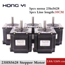 Free shipping 5PCS 23HS5628  4-lead Nema 23 Stepper Motor 57 motor NEMA23 Stepper Motor 2.8A  ISO CNC