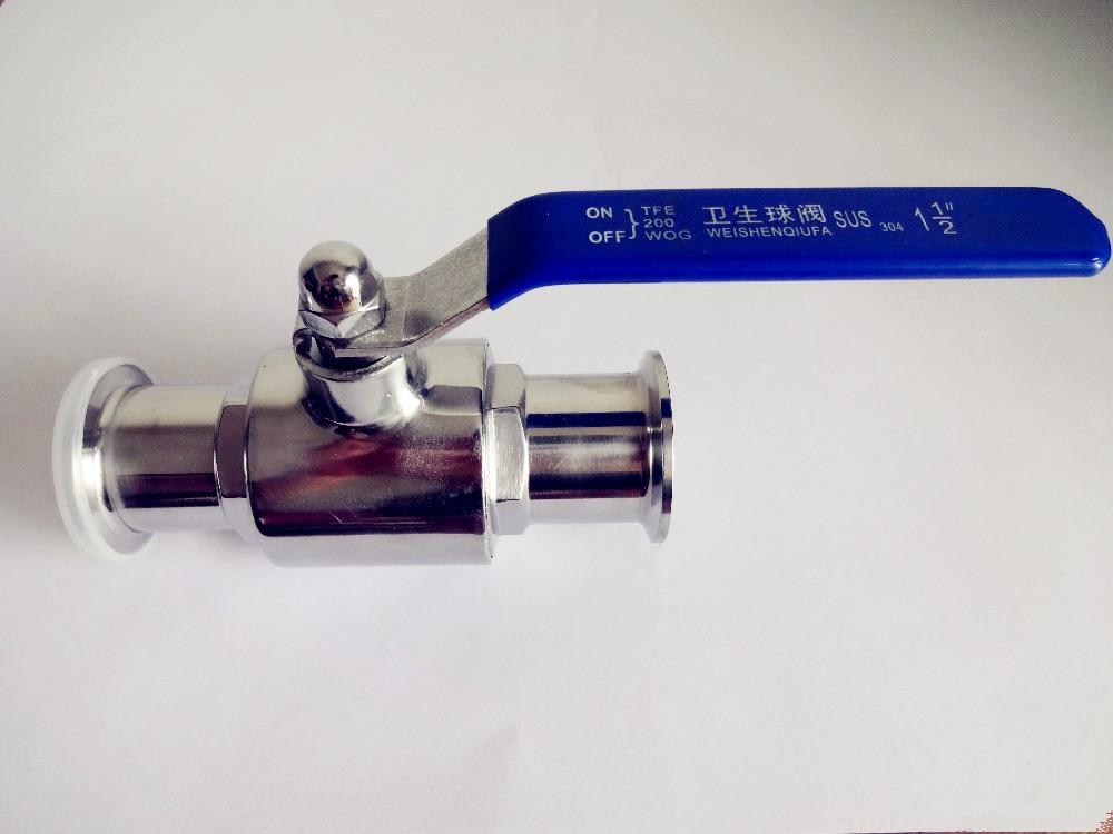 "Envío Gratis 1,5 ""(38mm) Acero inoxidable sanitario válvula de bola de Tres abrazaderas SS304 OD50.5"