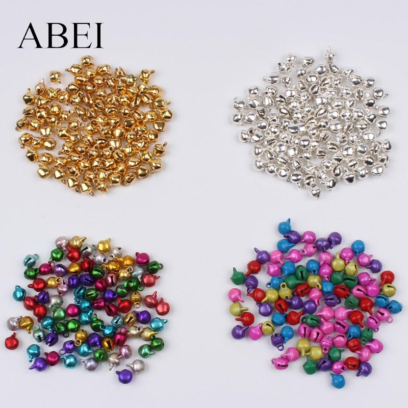 200 teile/los 6mm mini Gold Silber Multicolor Glocke Weihnachten Jingle Bells Lose Perlen DIY Handgemachte glocke Handwerk Zubehör