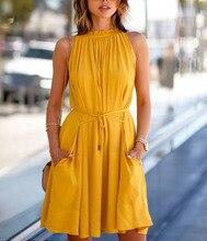 Vestido corto estilo europeo de princesa Casual plisado sin mangas de cintura alta de moda sólida para mujer