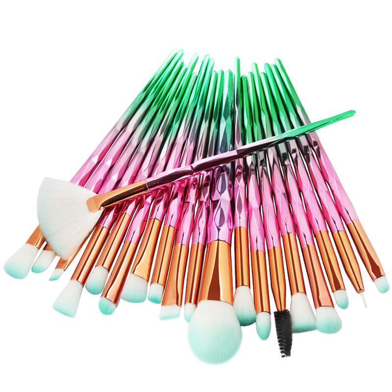 10/20 piezas Juego de brochas de maquillaje profesional de colores arcoíris diamante maquillaje-pinceles mezcla cosméticos de contorno cepillo para sombra de ojos