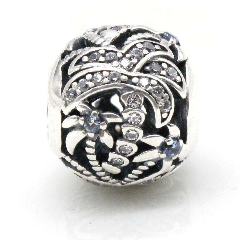Verão estilo quente 925 prata esterlina coconut palm tree charme cz contas caber diy pandora pulseira & colar jóias originais