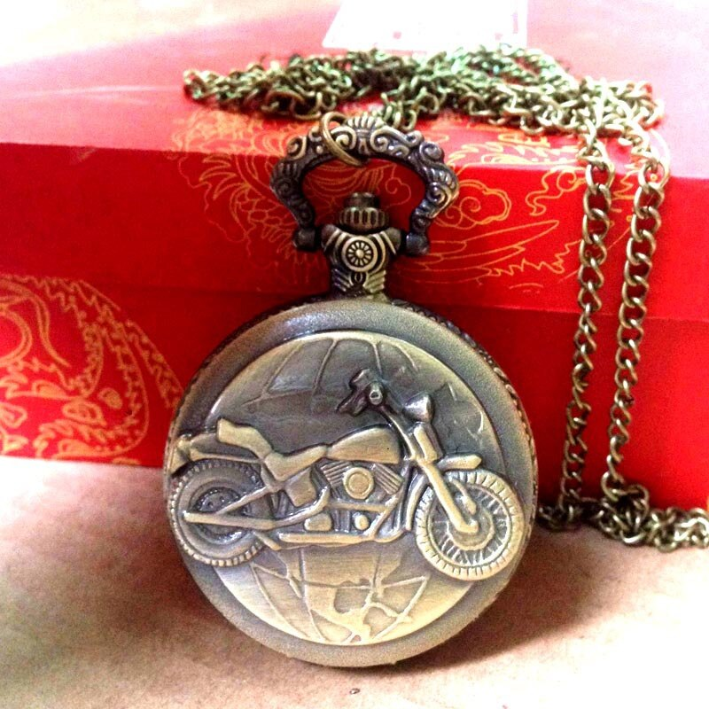 8065 Cool motocicleta en relieve Vintage reloj de bolsillo bronce Metal hombres cadena cuarzo reloj de bolsillo con collar