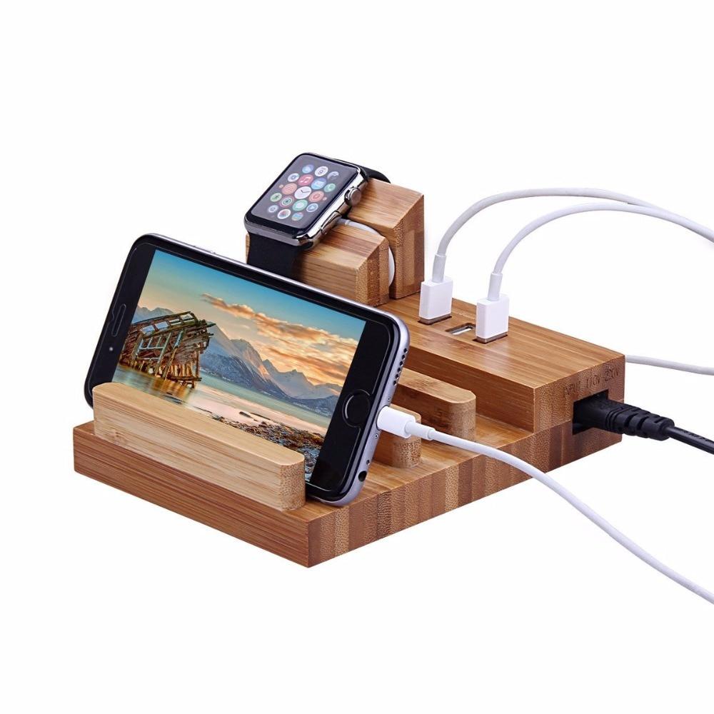 Estación de carga de madera de bambú Natural multifunción 5V 3 soporte de base USB para reloj 38 42 iPhone 6 7 8 Plus ipad pro