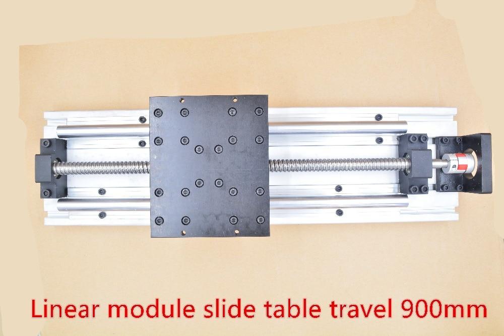 وحدة خطية مستقيمة ، دليل cnc ، برغي كروي ، طاولة منزلقة للسفر 900 مللي متر