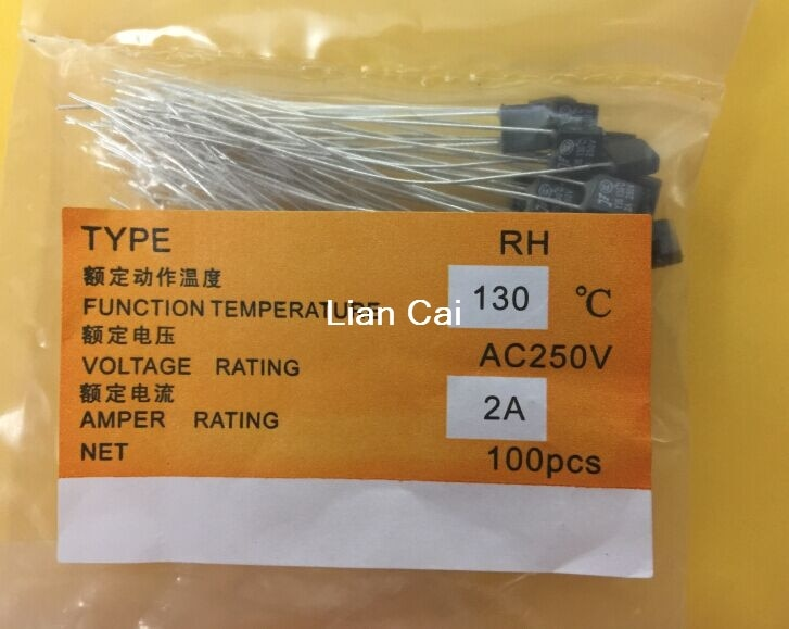 10pcs New RH 130 Degree Thermal Fuse 1A 250V