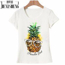 2017 offre spéciale mode fruits ananas Design femmes créatif imprimé T-shirt à manches courtes femmes drôle hauts Hipster t-shirt décontracté