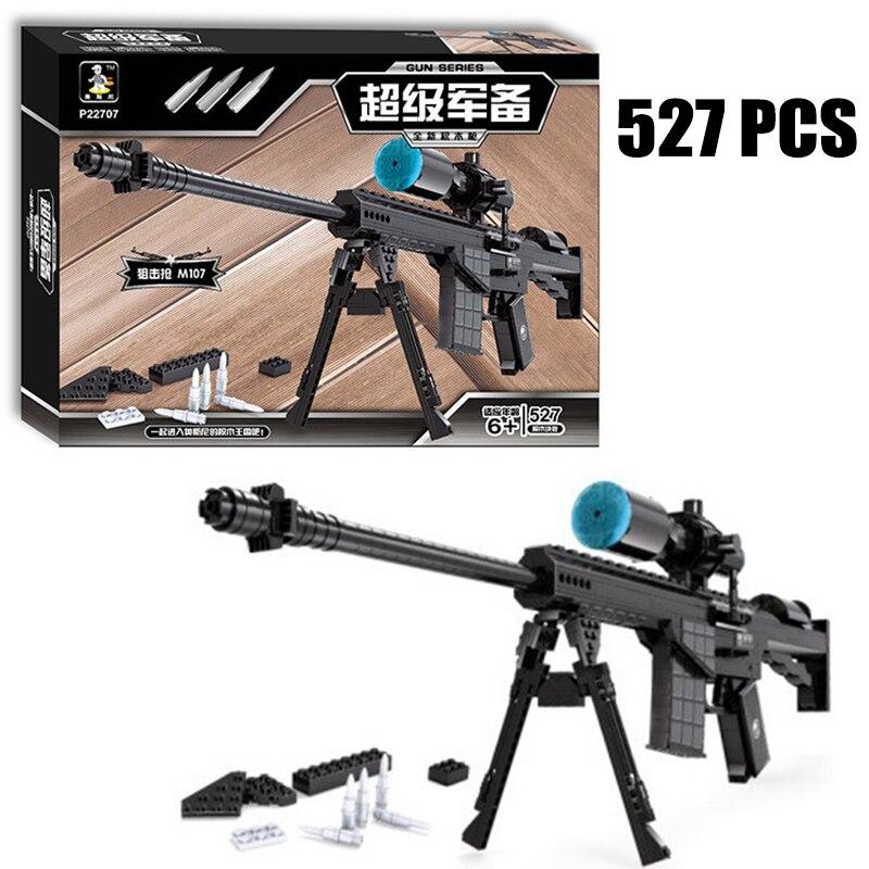 Gran Rifle de francotirador M107 juegos de bloques de construcción de modelo 527 Uds ladrillos juguetes educativos Kits de construcción bloque de regalo envío gratis