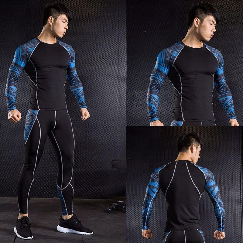 Camiseta de compresión para hombre, camiseta para correr, conjunto deportivo ajustado para hombre, conjunto de entrenamiento para gimnasio, pantalones para trotar, mallas para hombre para crossfit