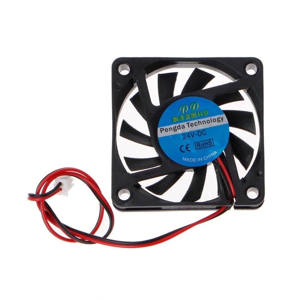 DC 24V 2-Pin 60x60x10mm PC Computer CPU System Sleeve-Bearing Cooling Fan 6010 3200RPM