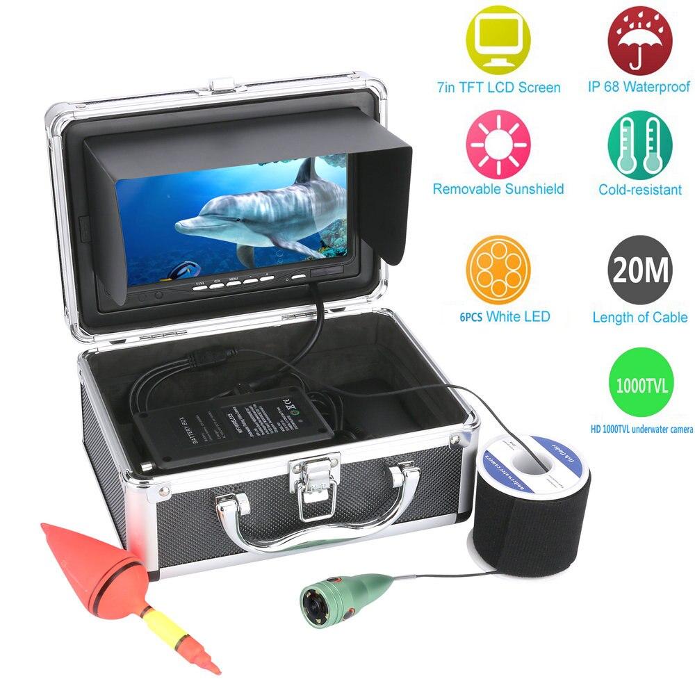 """GAMWATER 20 m 1000tvl Câmera De Vídeo Subaquática De Pesca Kit 6 pcs Luzes LED with7 """"Polegada Monitor a Cores"""