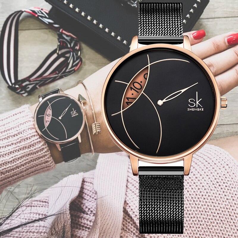 Shengke montre femmes de luxe marque femmes montre-bracelet à Quartz pour Reloj Mujer dames montres femme horloge 2019 Relogio Feminino