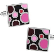 Men Gift Cuff Links Wholesale&retail Pink Color Copper Material Fashion Square Design
