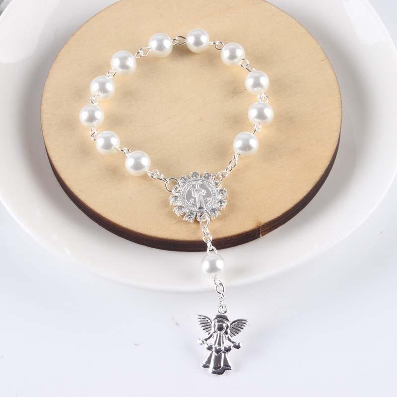 50 teile/los Religiöse Armband weiß Glas Perle Imitation Rosenkranz kinder Kommunion Baby der Taufe Begünstigt Katholischen Mini Rosenkranz