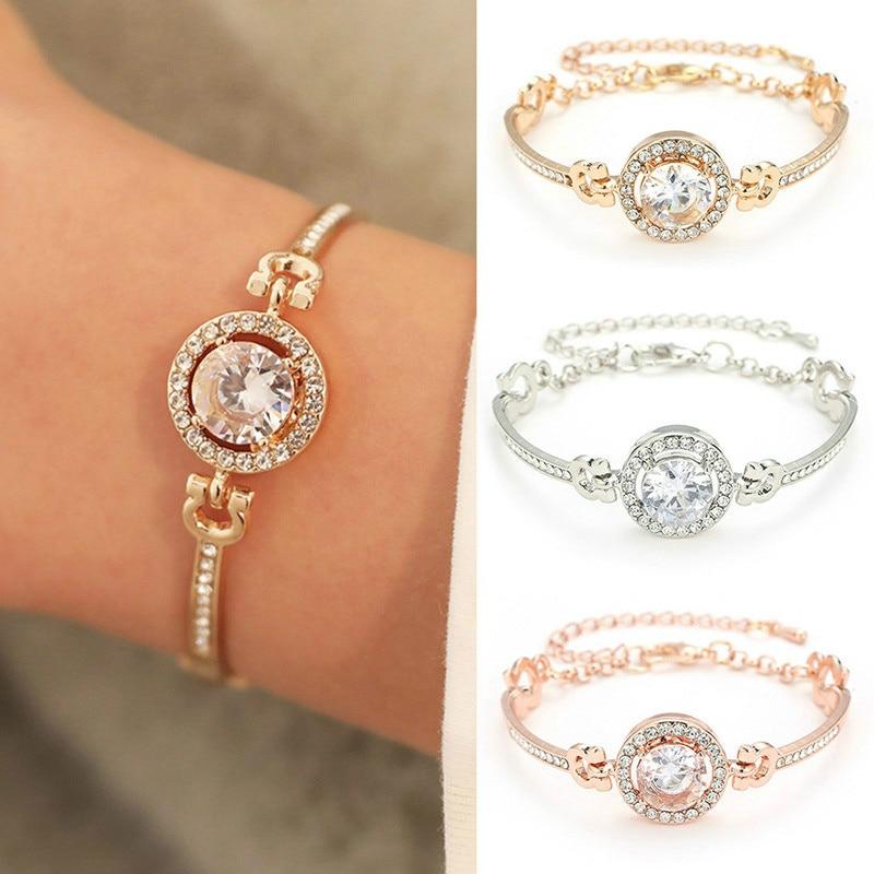 1 pieza nueva personalidad Noble Rhinestone encanto pulseras oro plata Rosa boda pulsera mujeres joyería de moda 2020