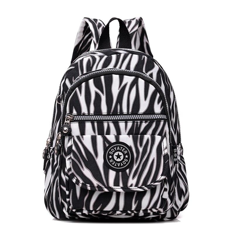 2019 Zebra pattern Backpack Women Fashion school bags for teenage girls Nylon Waterproof Mochila Feminina Small Travel Backpack