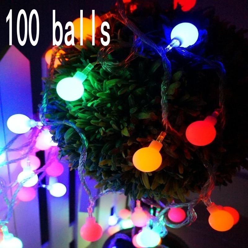 10 متر 100 Led الكرة الجنية سلسلة أضواء الزخرفية حفل زفاف عيد الميلاد في الهواء الطلق الباحة إكليل الديكور