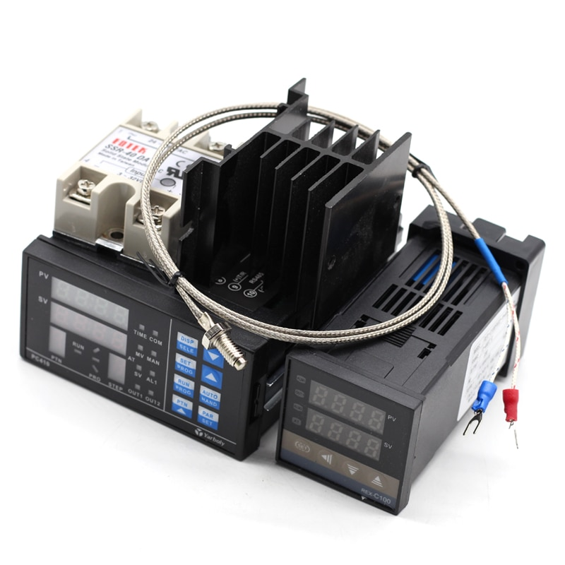REX-C100 SSR Цифровой ПИД контроллер температуры термостат + Макс. 40 А ССР + K зонд + радиатор + PC410 Rs232