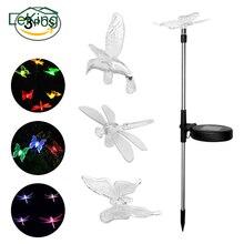 3 Stks Solar LED Tuin Gazon Licht Vlinder Dragonfly Hummingbird Stake Kleurrijke Decoratieve Licht Voor Garden Party