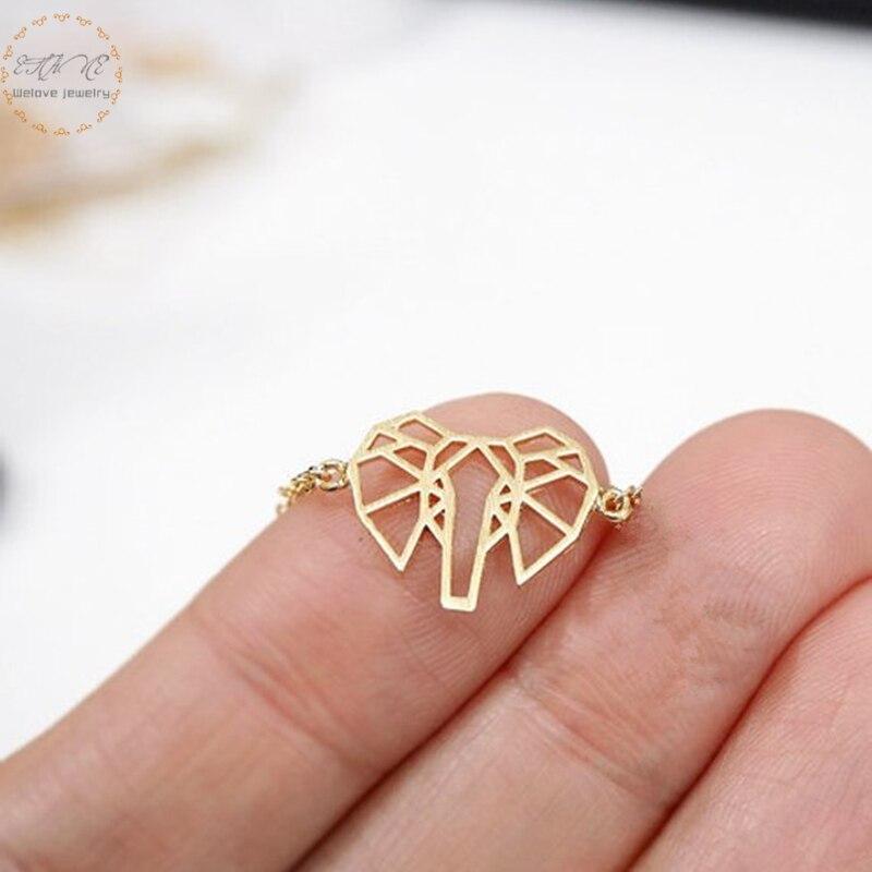 Gold Farbe Armband Femme Delicate Petite Origami Elefanten Armbänder Für Frauen Brautjungfer Geschenk Edelstahl Charme Schmuck