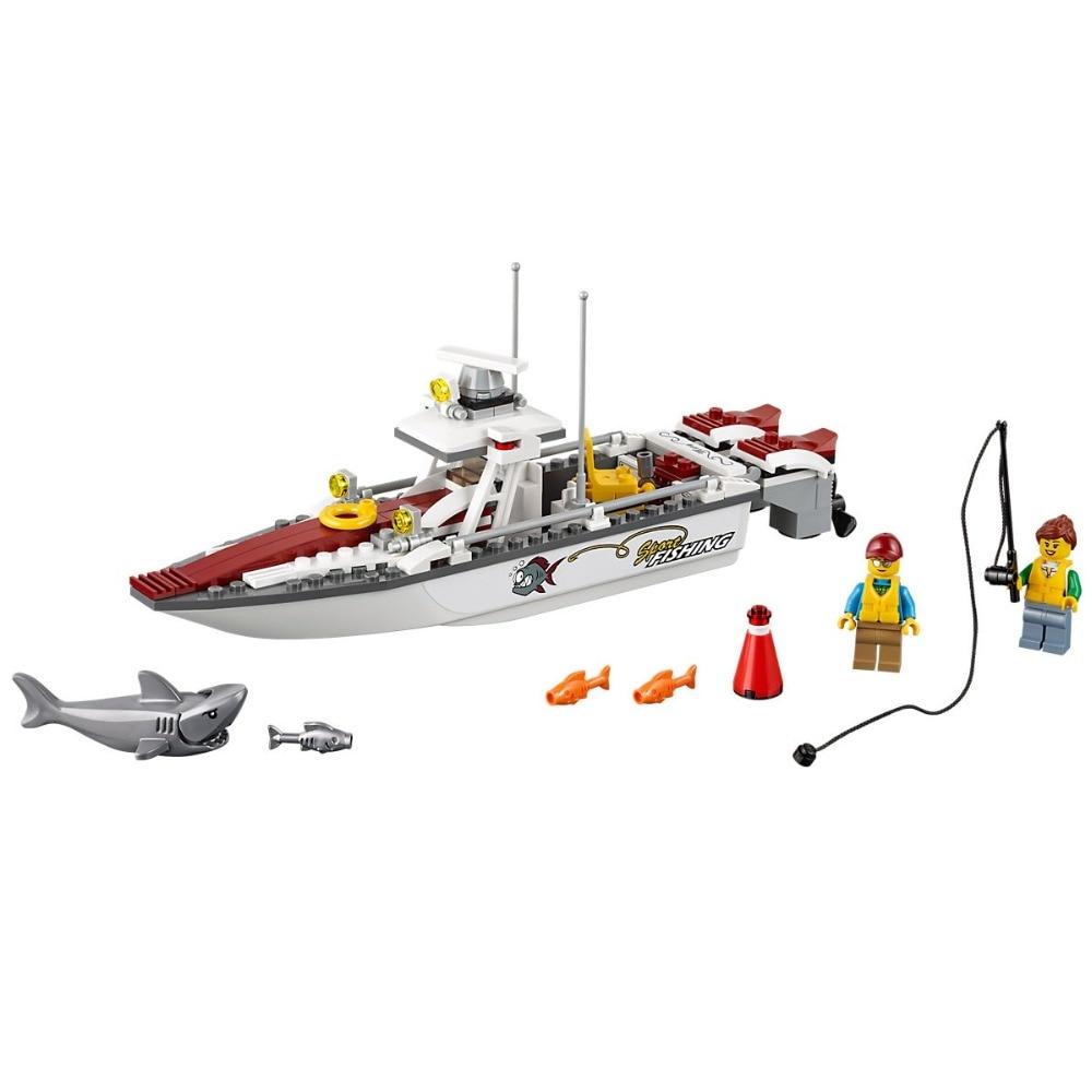 159PCS Fishing Boat City Great Vehicles 60147 Bricks Building Blocks Model toys for Childrens Kids Gift