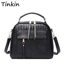 Tinkin Knitting torebka damska moda na ramię mała torebka kobieca do noszenia na ukos Retro Tote