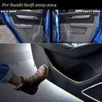 4pcs new interior carbon fiber doors side edge anti kick protection pad sticker for suzuki swift 2005 2014