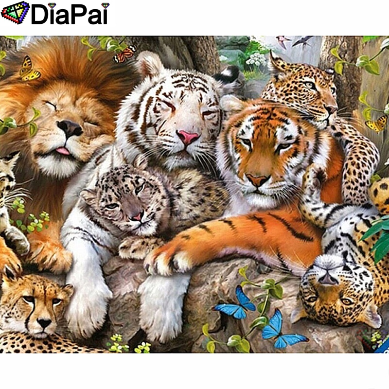 "DIAPAI diamante pintura 5D DIY 100% cuadrado completo/taladro redondo ""León leopardo Tigre"" diamante bordado punto de cruz 3D decoración A24570"