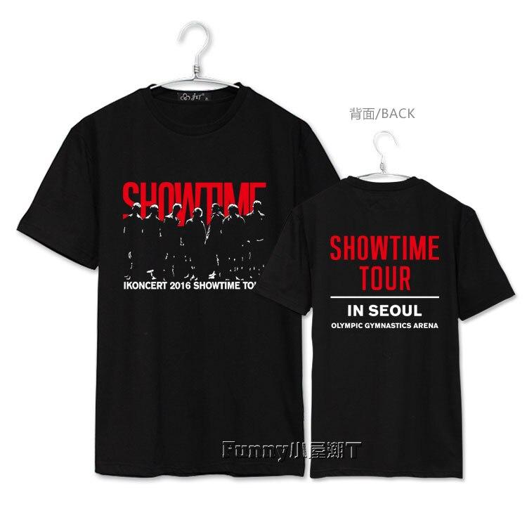 Chegada nova kpop concerto ikon showtime impressão o pescoço camiseta manga curta t-shirt da forma do verão 6 cores