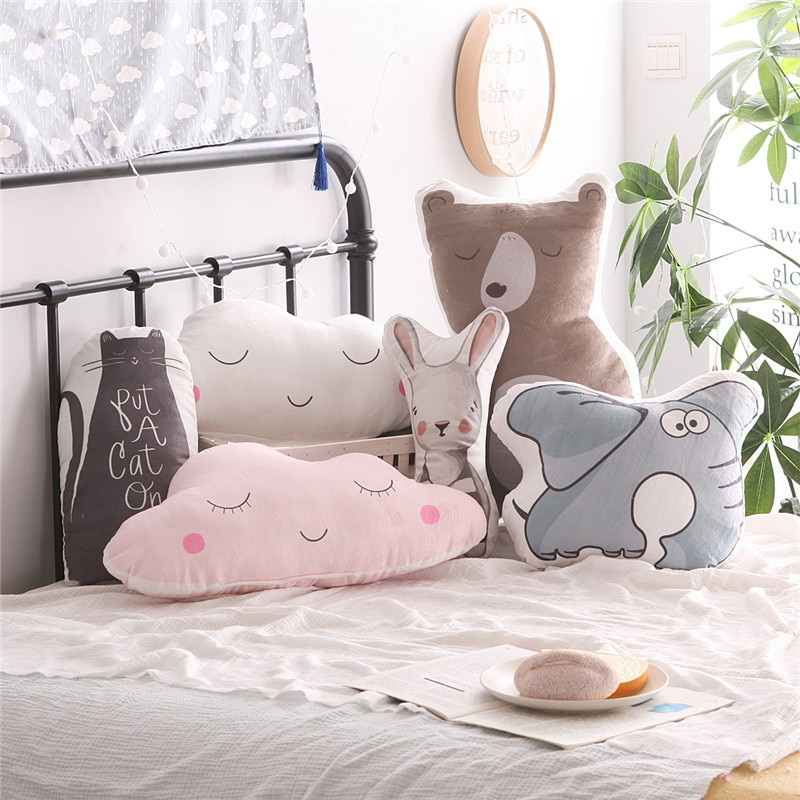 Animales de dibujos animados conejo oso gato elefante nube cojín almohada niños cama habitación decoración bebé tranquilo dormir muñecas Estilo nórdico Juguetes