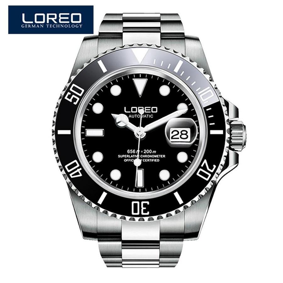 LOREO Luxury Brand Diving Men Military Sport Watches Men's Automatic Mechanical Clock Waterproof 200