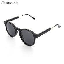 Glitztxunk New round Vintage Sunglasses Women Men 2018 brand designer UV400 Retro Sun glasses for Women Men Mirror Eyewear