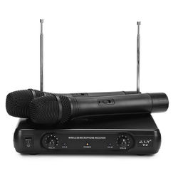 JIY V-2 Sistema de Home Theater KTV Karaoke VHF Microfone Sem Fio Receptor de Áudio Acessível Canais Dupla Handheld Microfone