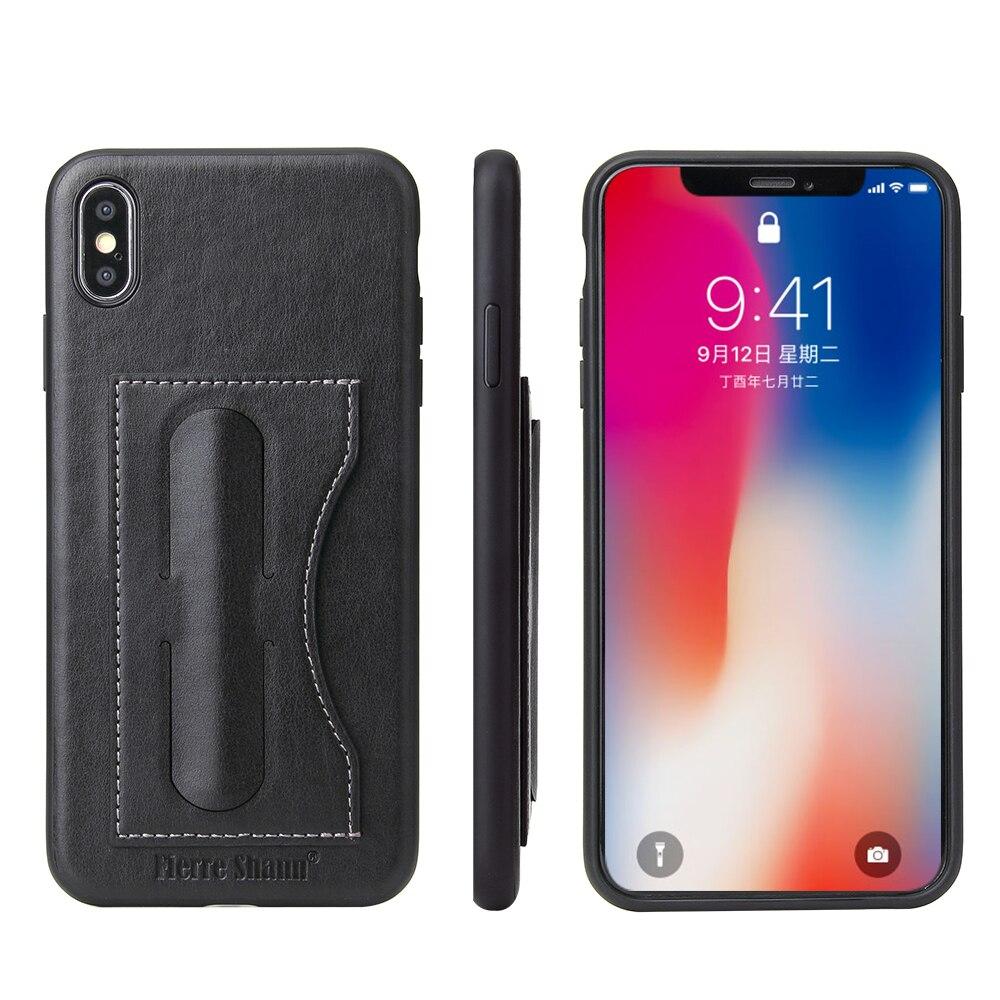 Funda para iPhone XS XR Simple moda Faux cuero tarjeta titular billetera teléfono móvil contraportada para iPhone XS Max caja de soporte