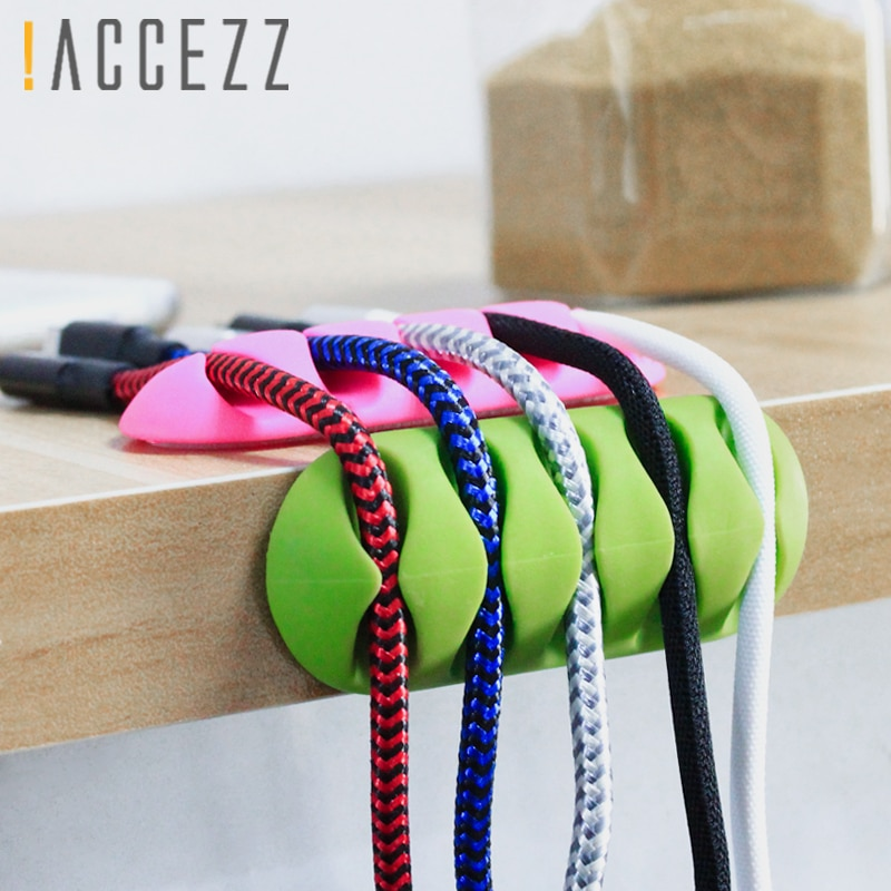 ! ACCEZZ 3PC Wickler Kopfhörer Kabel Veranstalter Draht Weichen Silicon Ladegerät Speicher Halter Clips USB Kabel Maus 5 Loch Schreibtisch management