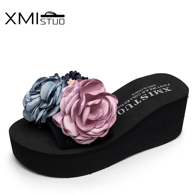 Xmistuo feito à mão belas flores novas chinelos femininos com cinto elástico sandálias chinelos casual usar sapatos de praia