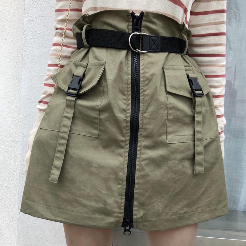 Saias femininas casuais harajuku japonês ulzzang vintage cintura alta zip saia feminina coreano kawaii bonito roupas para mulher