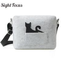 Sight Focus Women Felt Shoulder Bag Grey Lovely Felt Cat Purse Everyday Side Bag Homemade Girl Gift Extraordinary Crossbody Bags
